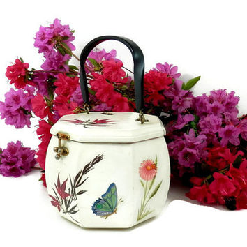 Octagon Wooden Purse with Decoupage Flowers and Butterflies Retro 70's Bag