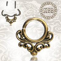 "Ornate 14g (1.6mm) Antiqued Afghan Tribal Brass Septum Nose Piercing 3/8"" ring diameter 9mm 18mm length Brass filigree"