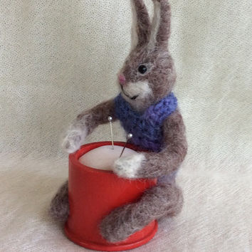 Needle felted Rabbit Bunny pin cushion FREE SHIPPING figurine miniature doll one of a kind unique gift sewing pincushion hare wool animal