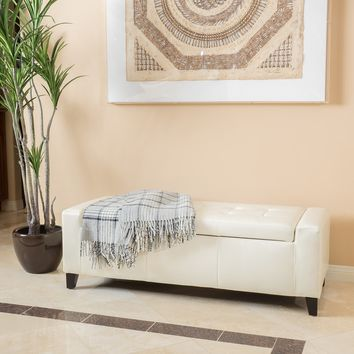 Robin Off-White Leather Storage Ottoman Bench
