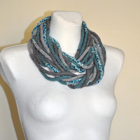 Grey and Mint Ifinity Scarf, Grey and Turquoise Crochet Scarf, Rope Scarf, Crochet Infinity Scarf, Made to order
