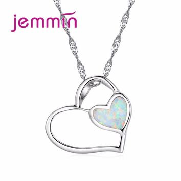 Jemmin Elegant Heart to Heart Promise Necklace Hollow Double Heart Pendant 925 Sterling Silver Necklace Chain for Women Romantic