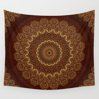 Golden Mandala Harmony on Red Wall Tapestry by Lena Photo Art