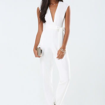 bebe Womens Brock Deep V Jumpsuit Pristine