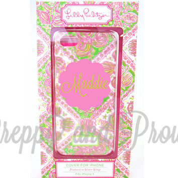 Lilly Pulitzer Inspired Iphone 5-5s Case Custom With Monogram|LIMITED Quantities|Water Wings|Personalized|Monogram|Agenda|Phone|Camelbak