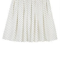 Pin Dot Challis Skater Skirt - White Multi