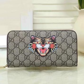 GUCCI Woman Men Fashion Angry Cat Clutch Bag Leather Purse Wallet1
