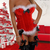 New Sexy Santa Women's Christmas Corset Bustier Xmas Outfit Fancy Dress Red 8-16