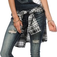 Almost Famous Dark Wash Destructed Overalls