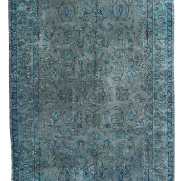 9x6 ft Grayish Blue Rug Over Dyed Carpet Vintage Turkish Rug Decorative Modern Carpet Floral Pattern Carpet Living Room Carpet Home Decor