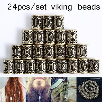 24PCS/SET Norse Viking Runes Beads Accessories for Necklace Pendant Bracelet Beard Dreadlock