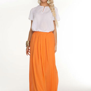 Bright Long Skirt,beach Summer womens Orange Boho Skirt, bohemian maxi skirt.