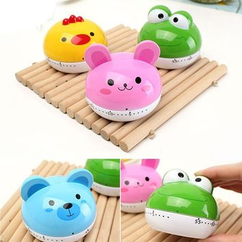 Lovely  Creative Dial Movement Timer Home Decoration Rabbit Chicken Frog Bear Cartoon Kitchen Mechanical Alarm Clock Set Time Re