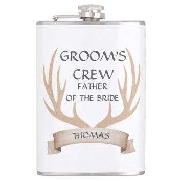 Watercolor Antlers Ribbon Bachelor Party Monogram Hip Flask
