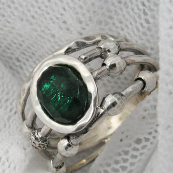 GREEN oval CZ-Sterling silver open work spheres ring (sr-9952)