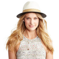Aeropostale Women's Colorblock Straw Hat Natural