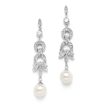 Art Deco Pave CZ Bridal Earrings with Ivory Pearl Drops $39
