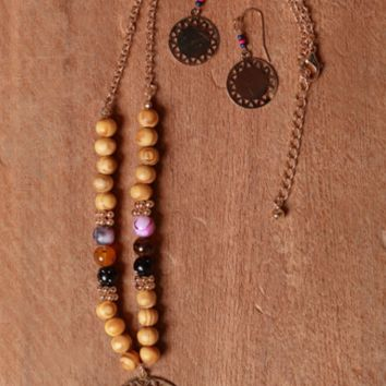 Gold Tone American Native Design Wooden Ball and Seed Beaded Necklace and Earrings Set.