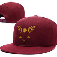 RHXING Undertale Symbol Delta Rune Adjustable Embroidery Snapback Cap Hats Red