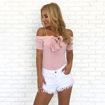 Bow & Glow Off Shoulder Bodysuit in Pink
