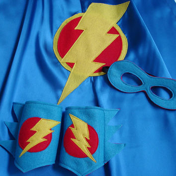 Children's Custom Superhero Lightning Bolt Cape Including Matching Mask, and Wrist Cuffs