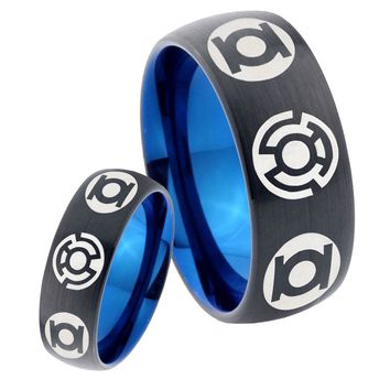 His Hers Green Blue Lanterns Dome Tungsten Carbide Blue Wedding Ring Set
