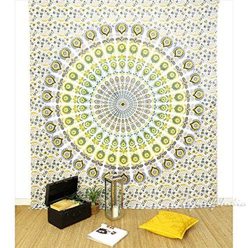 EYES OF INDIA - QUEEN WHITE YELLOW HIPPIE ELEPHANT MANDALA TAPESTRY BEDSPREAD Beach Dorm Decor
