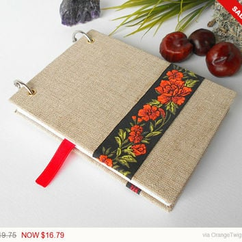Sale - Holidays gift Travel journal with fabric hardcovers and 200 pages- refillable compact journal with ring binding -handmade Holidays gi