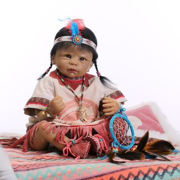 Native American Indian Reborn Baby Doll Silicone Newborn e2ff8eb54e5c