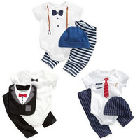 Gentleman Newborn Toddler Baby Boy Bodysuit+Pants+Hat