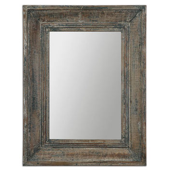 Uttermost 13854 Missoula Distressed Blue, Green and Aged Wood Small Mirror
