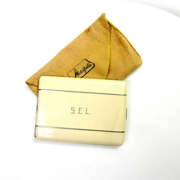 White Cigarette Case Signed Up Elgin American With Cloth Pouch White Enamel On Metal Vintage Collectible Gift Item 2421