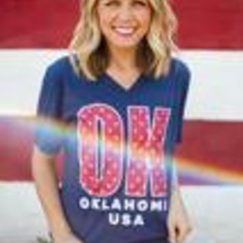 Blue OK Stars V neck T-shirt