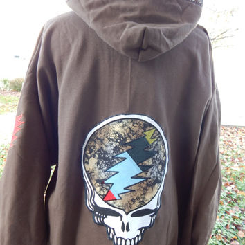 Mens Upcycled Zip Up Earthy Brown  Grateful Dead Stealie 2XL Mens Hippie clothes, hoodie, recycled hoodie, zip up hoodie, guys hoodie