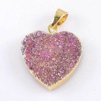 Druzy gemstone heart necklace