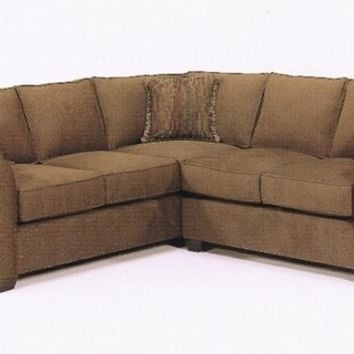 2 pc custom sectional sofa with rolled arms and wood feet