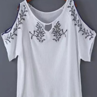 White Off Shoulder Floral Embroidery Short Sleeve Top