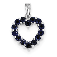 Sterling Silver Rhodium-plated Sapphire Pendant QDX868