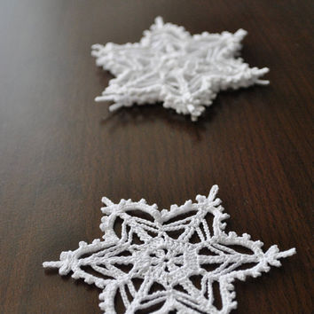 Crochet snowflake,Christmas decorations,Winter Hanging ornament,Wedding Gift,Crochet ornaments,White crochet snowflakes,Handmade ornaments