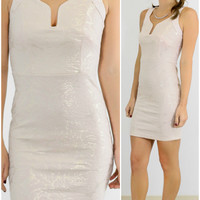 Modern Belle Shimmering Ivory V-Neck Bodycon Dress