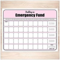 Building an Emergency Fund Worksheet in Pink (by $20 increments) - Printable