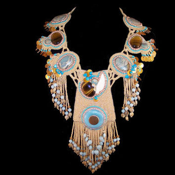 """Necklace - Southwest Seed Bead Ceremonial Dance Necklace 21"""", Free Shipping"""