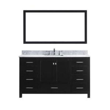 Virtu USA Caroline Avenue 60 in. W x 36 in. H Vanity with Marble Vanity Top in Carrara White with White Square Basin and Mirror GS-50060-WMSQ-ES at The Home Depot - Mobile