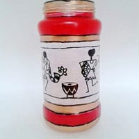 Warli Flower Vase Decorative Jar Handpainted  With Golden Accents Boho Table Piece