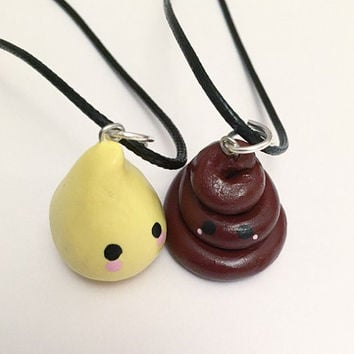 Poop and Pee Best Friends Necklaces - Poop and Pee - Besties Jewelry - Best Friends Jewelry - Friendship Necklaces