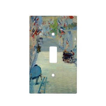 Rue Mosnier with Flags Manet Painting Switch Cover Light Switch Plate