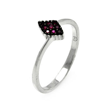 925 Sterling Silver Ladies Jewelry Diamond Shape w/ Pink Cubic Zirconia Stone Ring Measurement: 7.9mm X 5.2mm: Size: 5