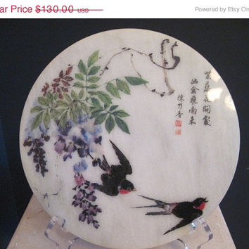 "SALE Rare Hand Painted Marble Round Plaque ""Sparrows in Flight"""