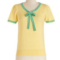 ModCloth Vintage Inspired Mid-length Short Sleeves Barista in the City Top in Lemon