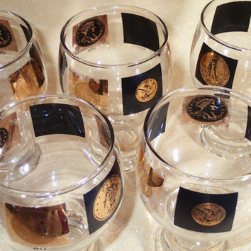 Cera World Coin Beer Glasses, Set of 5 vintage beer glasses, 12 oz. Vintage barware